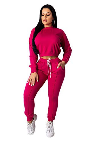 Women Casual 2 Piece Sport Outfits Long Sleeve Pullover Hoodie Sweatpants Set (Sweatpants For Women Set)