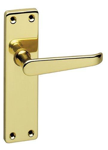 URFIC 90-325-01 LA Victorian Polished Brass Lever Latch Traditional Door Handle Set -