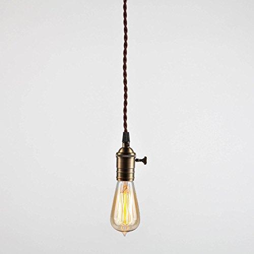 efine antique brass single socket tillary pendant light