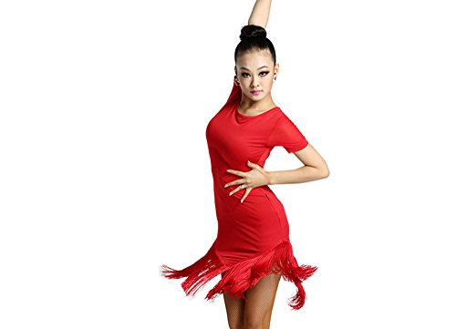 Motony Latin Dance Dress New Style Latin Dance Costume Tassels Adult Latin Dance Clothes Red S (Dance Costumes/ Wear)