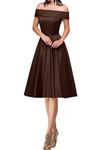 A Schokolade Damen Abendkleid Linie Satin Ausschnitt Promkleid Lang Kurz U Ivydressing Festkleid Partykleid Modern Xpq7ZwxxA