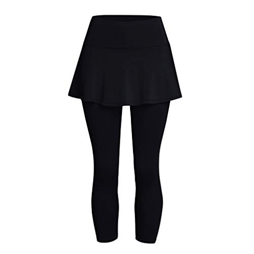 FONMA Women's Casual Skirt Leggings Tennis Sports Fitness Cropped Culottes Pants Black
