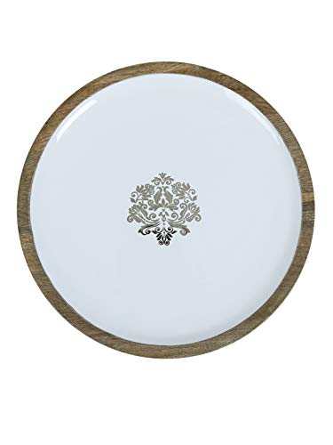 Seashell White & Brown Round Serving Platter 30.48 cm x 30.48 cm, For Kitchen Tools, Perfect Housewarming Gift
