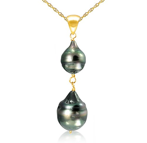 14k Yellow Gold 8-12mm Black Off Shape Tahitian Cultured Pearl Pendant Necklace, 18