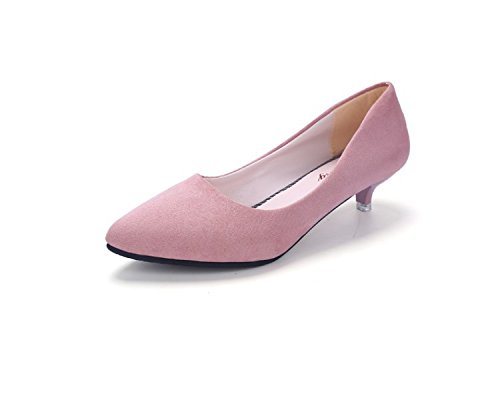 Pink low work Women's suede shoes casual shoes thin heel professional HwOO7qzx