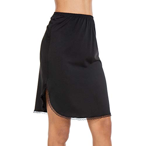 - MANCYFIT Half Slips for Women Underskirt Short Mini Skirt with Floral Lace Trim Black Medium