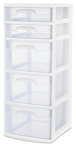 Sterilite 28958002 5 Drawer Tower, White Frame with Clear Drawers, 2-Pack