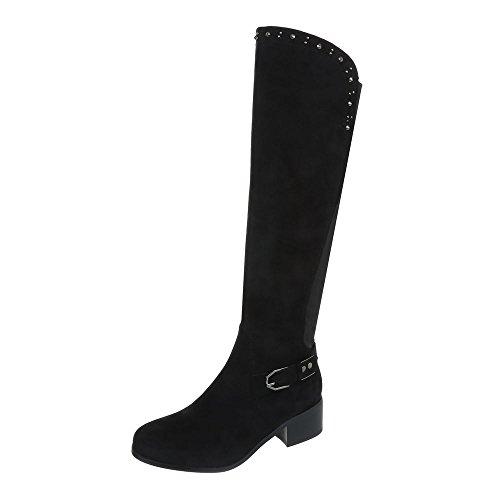 Ital-Design Klassische Stiefel Damenschuhe Klassische Stiefel Blockabsatz Blockabsatz Reißverschluss Stiefel Schwarz