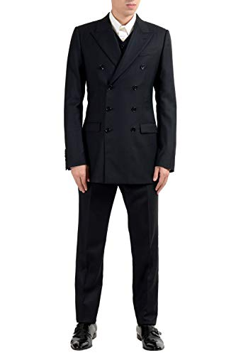Dolce & Gabbana Men's Wool Silk Double Breasted Three Piece Suit US 38 IT 48 Dolce And Gabbana Mens Suits
