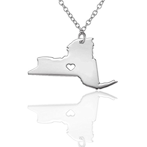 Joyplancraft New York State Charm Ncklace,NY State Shaped Necklace,Personalized New York State Necklace With A Heart (Silvery) (New York State Necklace compare prices)