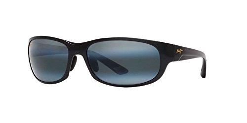 Maui Jim Mens Twin Falls 63 Sunglasses (417) Black Shiny/Grey Plastic,Nylon - Polarized - 63mm by Maui Jim