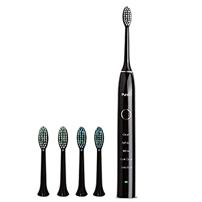 Sonic Electric Toothbrush 5 Modes Rechargeable for Superior Dental Hygiene Daily Clean, Gum Care, Sensitive, Whitening,and Deep Clean Oral Health Micropulse Bristles with 4 Replacement Heads