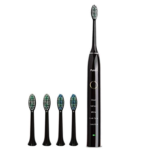 Sonic Electric Toothbrush Travel Rechargeable for Superior Dental Hygiene Daily Clean, Gum Care, Sensitive, Whitening, and Deep Clean Oral Health Micropulse Bristles with 4 Replacement Heads - Black from PURES