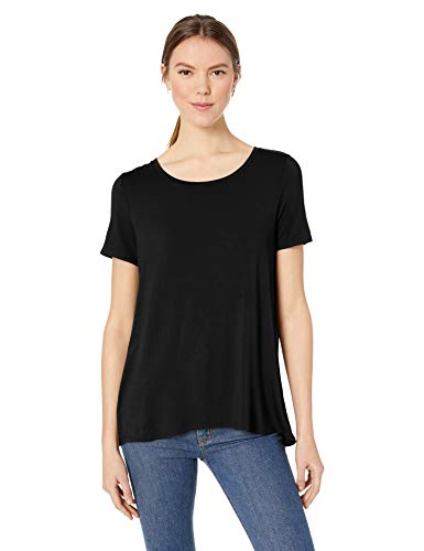 Amazon Essentials Women's Solid Short-Sleeve Scoopneck Swing Tee, Black, XL