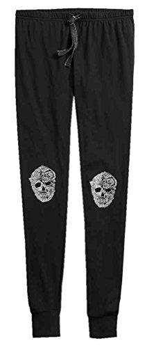 Harley-Davidson Women's Metallic Skull Ribbed Sleep Leggings 97611-18VW - Davidson Pants Lounge Harley