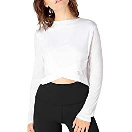 Sanutch Women's Long Sleeve Workout Shirts Crop Tops Athletic Gym Clothes Yoga Activewear Reversible Tops