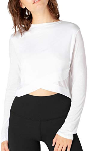 Fofitness Workout Clothes Yoga Sports Crop Tops Winter Fall Clothing Hiking Exercise Sweatshirts Running Fashion Shirts for Women White, Medium