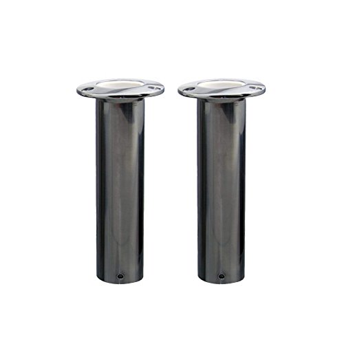 Norestar Set of 2 Flush Mounted Stainless Steel Rod Holders for Boat, Straight