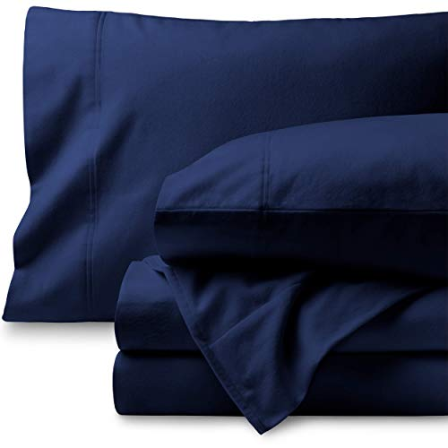 Bare Home Flannel Sheet Set 100% Cotton, Velvety Soft Heavyweight - Double Brushed Flannel - Deep Pocket (Queen, Dark Blue) (Sale Flannel Sheets)