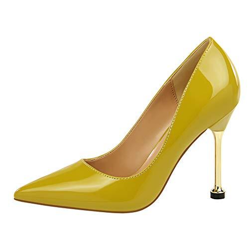 B FLYRCX Mode Chaussures de Travail Simples Stiletto en Cuir Verni Bouche Peu Profonde Pointu Sexy tempérament Talons Hauts Dames Chaussures Simples 37 EU