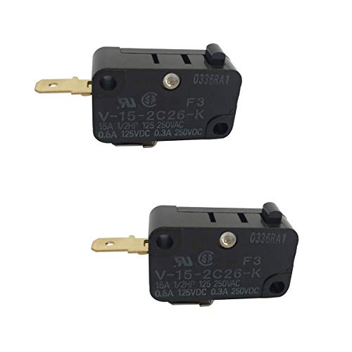 V-15-2C26-K Switch Snap Action Micro Switch Normally Closed for OMRON Switch Shurflo 2088 Series Pump, 94-231-20 Pump Head (Pack of 2) by Ketofa