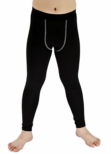 (Lanbaosi Boys & Girls Sports Thermal Compression Base Layer Legging/Tights, Black, 10)