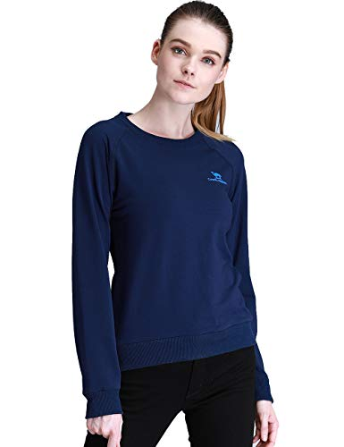 Camel Crown Women Sweatshirts Crewneck Pullover Sport Long Slevees Cotton T-Shirts Breathable for Running Navy M Size