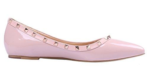 MONICOCO Übergröße Flache Damenschuhe Spitze Zehen Lackleder Geschlossene Ballerinas mit Nieten Pink 37 EU 5N0oaYU