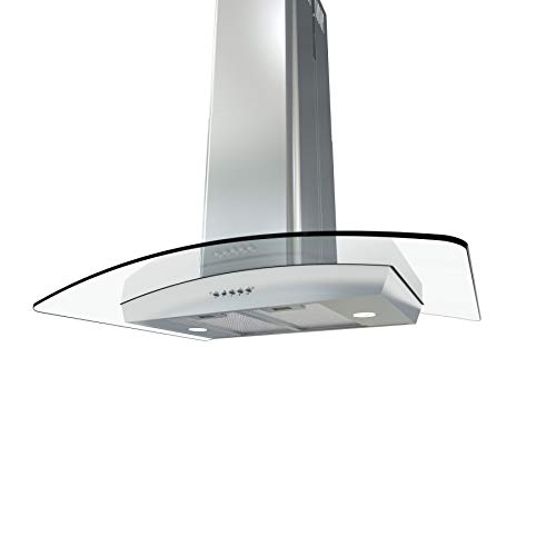 Zephyr BML-E36AG290 290 CFM 36 Inch Wide Island Range Hood with Halogen Lighting, Stainless Steel with Glass 12' Stainless Steel Duct Cover