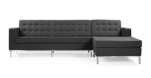 Kardiel FKL-BISECTIONAL-Char Florence Left Or Right Facing Bi-Sectional Chaise Sofa, Charcoal Cashmere Wool