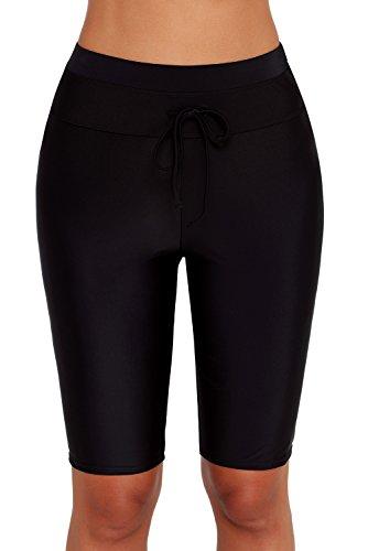Urchics Womens Plus Size Rash Guard Capris Long Swim Shorts Tankini Bottom Black1 XL (Plus Size Womens Rash Guard Swim Shirts)