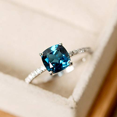 (GerTong Women's Ring, 1PCS Elegant Silver Plated Flash Square Drill Zircon Blue Diamond Luxury Anniversary Engagement Ring Jewelry Gifts for Women Lady Girls Size 8# (Peacock Blue))