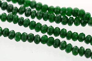 5mm Emerald Green Jade Rondelle Beads, Faceted Gemstone Beads, 130 Beads gjd0154 Crafting Key Chain Bracelet Necklace Jewelry Accessories Pendants