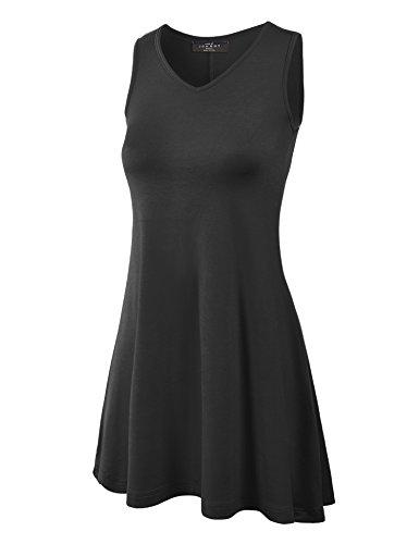 Mbj Wt827 Womens Sleeveless V Neck Dress Top Xxl Black