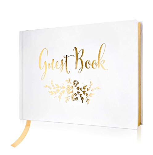 Wedding Guest Book - Polaroid Album Photo Guestbook Registry Sign-in with Gold Foil & Gilded Edges - White Hardbound Book with Bookmark - 9