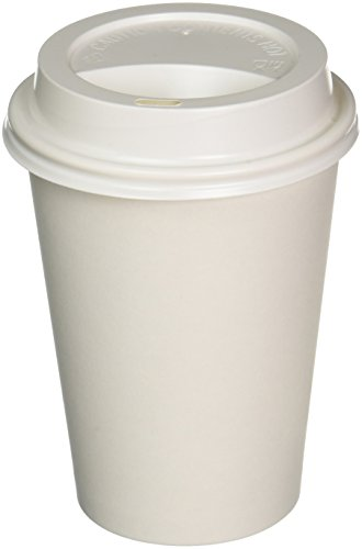 100 Sets 12 oz Paper Coffee Cup Solo Disposable White Hot Cup with Cappuccino LIDS