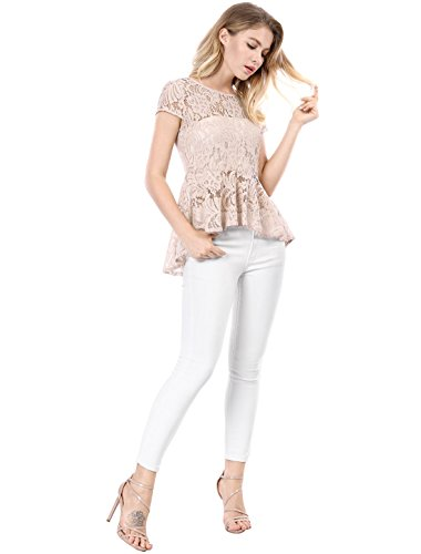 Pink Longues Une Manches Femme Allegra K Rose S Peplum Haut Ligne Ourlet Dentelle 0xfxpwqg7