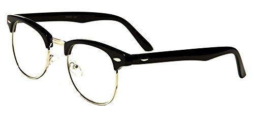 VW Eyewear - Classic Half Rim Round Reading Glasses Black Tortoise Reader (+2.25, Black-Clear - Glasses Rim Mens Half