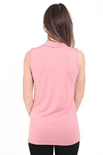 Janisramone - Camiseta sin mangas - Básico - Sin mangas - para mujer oro rosa