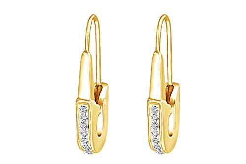 - Round White Cubic Zirconia Safety Pin Drop Earrings 14k Yellow Gold Over Sterling Silver