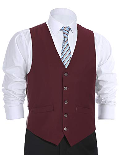 Chama Men's Suit Dress Vest Waistcoat Regular Fit Vest - Many Colors (38 Regular, Burgundy) -