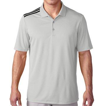 adidas Golf Men's Climacool 3-Stripes Polo Shirt, Stone/Black, Medium