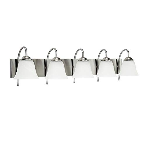 OSTWIN 5-Light Bath Bar Light Up or Down, Interior Bathroom Vanity Wall Lighting Fixture VF41, 5x60 Watt E26 Socket, Satin Nickel Finish with Alabaster Bell Glass Shade UL Listed