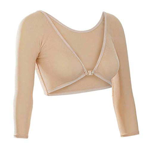2019 Women Party Basic Long Jersey Sleeves Both Side Wear Sheer Plus Size Seamless Arm Shaper Crop Top Mesh Shirt Blouse (Khaki, L) ()