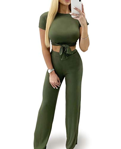 SINRGAN Women's Sexy Casual Two Piece Outfits Jumpsuit Romper Long/Short Sleeves Crop Top Pants Set ArmyGreen ()