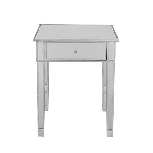 Mirage Mirrored Accent Table – Mirror Surface w Silver Trim – Glam Style