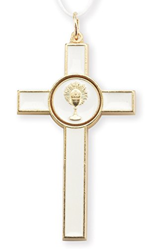 (Gold Toned White Enamel Pendant First Communion Cross Pendant with White Cord, 3 Inch)