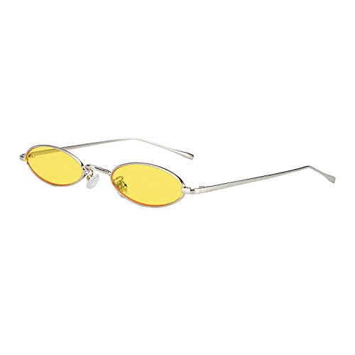 ROYAL GIRL Vintage Oval Sunglasses For Women Men Unisex Fashion Small Metal Frames - Glasses Shades Yellow