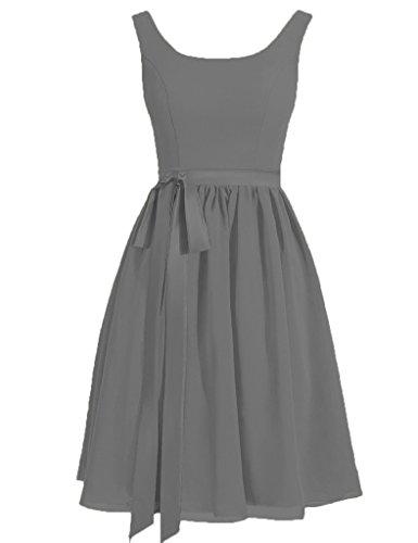 Festa Prom Abiti Cinghie HUINI Satin Steel Breve Dresses Grey Sash Scoop di Nozze R8YHRwx1