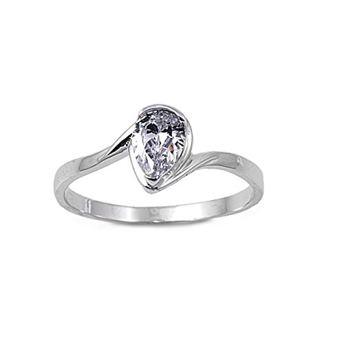CloseoutWarehouse Teardrop Cubic Zirconia Solitaire Ring Sterling Silver Size 6
